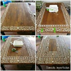 indian inlay stenciled tabletop, home decor, painted furniture, Creating an intricate Indian Inlay stenciled table process photos - stencil for this project can be found on Cutting Edge Stencils