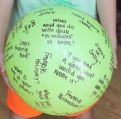 Fun group game (family reunion, parties, etc)...This post includes a list of questions to put on your ball!