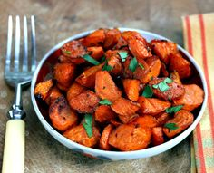 Oven Roasted Carrots-sweet, crusty and a little salty! - It would make me eat my carrots.