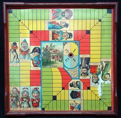 Original Wood Framed Game Board ~ Punch & Judy 1890 PUNCH, JUDY & BABYMcLoughlin Brothers New York, NY USA 1890This original antique game board is