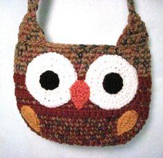 Owl Purse Owl Shoulder Bag Crocheted in by DesigningImpressions, $26.00