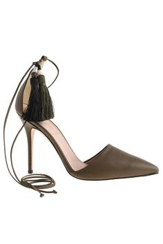 <3 <3 < The tassels, my friend, are blowing in the wind.  J.Crew Roxie Ankle-Tie Pumps, $285, available at J.Crew.