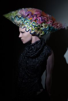 Avant garde rainbow finger waves by Carley Throgmorton.