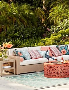 Palermo in Paradise... A new linen finish & tropical pillows on our most popular modular seating