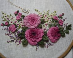 Hand Embroidery tutorial - Cast-on stitch Rose Bouquet