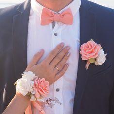 Peach Wedding Boutonniere Grooms Coral Wedding Boutonniere Corsage Fabric Boutonniere Prom Wedding B Coral Boutonniere, Prom Corsage And Boutonniere, Bridesmaid Corsage, Corsage Wedding, Groom Boutonniere, Bridal Bouquets, Wrist Flowers, Prom Flowers, Wedding Flowers