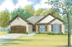 Front elevation of Craftsman home (ThePlanCollection: House Plan #193-1042)