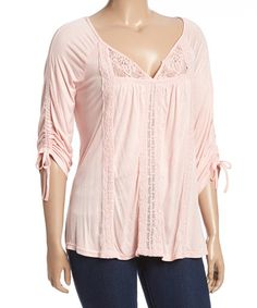 Look what I found on #zulily! Rose Crochet-Accent Notch Neck Top - Plus #zulilyfinds