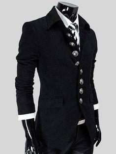 Slimming Turndown Collar Fashion Single Breasted Long Sleeve Woolen Coat For Men #shoes, #jewelry, #women, #men, #hats, #watches, #belts