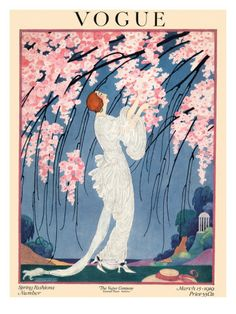 Vogue Cover - March 1919    A woman in an elaborately draped white evening dress admires cherry blossoms. Helen Dryden's delicate and lush outdoor scene appeared on the March 15, 1919, cover of Vogue.