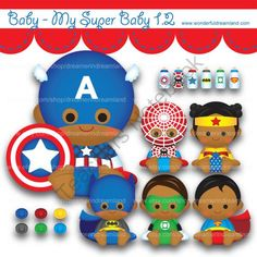 Printable Clipart Clip Art Digital PDF PNG File - Superhero Super Hero Super Baby Boy Girl 1.2 from Wonderful Dreamland on TeachersNotebook.com -  (2 pages)  - baby boy, baby girl, superhero, sun kissed skin, tanned skin, African American