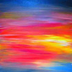 BRIGHT HORIZONS Bold Colorful FIne Art Print Rainbow Pink Yellow Blue Sunrise Sunset Stripes Abstract Painting Digital Print Decor Wall Art by EbiEmporium on Etsy https://www.etsy.com/listing/232411904/bright-horizons-bold-colorful-fine-art