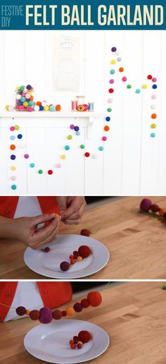 Easy DIY Project and Room Decor Ideas | Felt Ball Garland by DIY Ready at http://diyready.com/diy-projects-for-teens-bedroom/