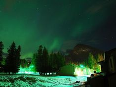 20 Most Beautiful Places to Visit in the World   #3  Banff Town – Northern Lights – Banff National Park – Alberta, Canada