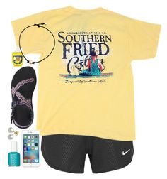"""""""Water fight tomorrow. :)"""" by simply-makayla ❤ liked on Polyvore featuring NIKE, Chaco, Mikimoto and Essie"""