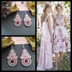 Spring colors inspiration for this pair of handmade earrings in soutache embroidery technique. Perfect gift for Bridesmaid, Christmas gift, anniversary or birthday gift for mom, wife or best friend gift . They are very light and romantic. Handmade earrings made with Czech viscosa braid