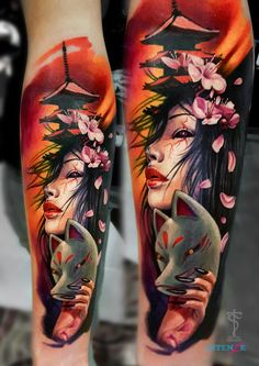 angel tattoos for female, full body tattoos on women, gypsy tattoo sleeve, mens forearm band tattoos Trendy Tattoos, Popular Tattoos, Tattoos For Guys, Tattoos For Women, Gypsy Tattoo Sleeve, Tribal Sleeve Tattoos, Gypsy Tattoos, Geisha Tattoo Sleeve, Geisha Tattoo For Men