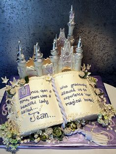 """I have an idea..   Alex & I met while doing internships at Disney..  So, what if we had a nontraditional wedding cake. It would be a stack of books, with an open book on top. It would look similar to this, but on the right side it would say """"...and they lived happily-ever-after."""" with a little scroll thing at the bottom! Then on the left side, there could be a cartoon picture of us looking all happy. Cheesy? Yes.. but it would totally fit with my """"happily-ever-after"""" theme!!  @Roxanne…"""