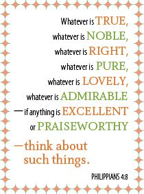 Quick devotion for families: Thinking Good Thoughts (Philippians 4:8)