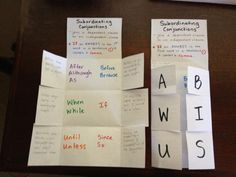 Subordinating conjunctions foldable- an awesome idea to follow up my game. Sentence Gobblers! Looks-Like-Language!