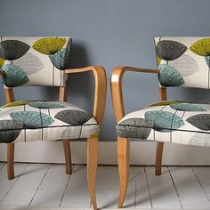pair of 1940's bridge chairs by kiki voltaire | notonthehighstreet.com LUV this material
