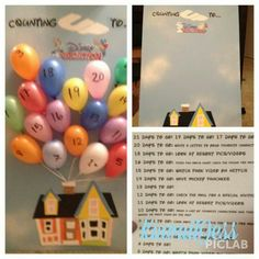 Disney trip countdown.  What a cute idea! Each day you pop a balloon and see what the paper says and do the activities. I love this idea!!
