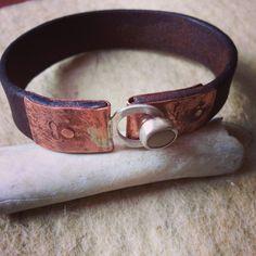 Beach stone stud fastener, silver, copper, pebble, leather