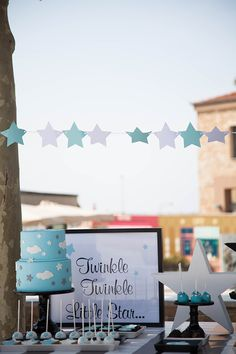 star-baptism-ideas-1 Boy Baptism, Christening, Baptism Ideas, Star Baby Showers, Twinkle Twinkle Little Star, First Birthdays, Wedding Inspiration, Stars, Party