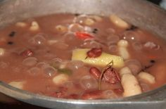 RED PEAS SOUP 1 lb meat (optional) – salted pig tail or smoked turkey necks 1 lb. dried red peas, soaked overnight 1 yellow o Jamaican Dishes, Jamaican Recipes, Red Peas Soup Recipe, Jamaican Peas Soup Recipe, Pig Tail Soup Recipe, Caribbean Recipes, Caribbean Food, Caribbean Culture, Red Bean Soup