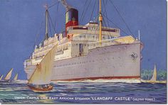 Built in On November 1942 she was torpedoed and sunk by the German submarine with the loss of two lives. Union-Castle Line. German Submarines, Carinthia, Hudson River, Queen Mary, Sailing Ships, Ww2, Vintage Posters, Hamilton, Sink