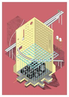 Just Tactics Daniel Masterman Royal College of Art, 2015 Rhino Architecture, Architecture Graphics, Architecture Student, Architecture Drawings, Architecture Design, Architecture Diagrams, Sectional Perspective, Axonometric Drawing, Public Space Design