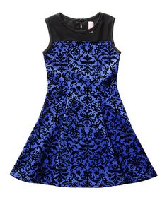 Look what I found on #zulily! Royal & Black Damask Party Dress - Girls by Sweet Heart Rose #zulilyfinds