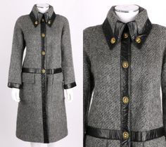 VTG 1960s BONNIE CASHIN SILLS GRAY WOOL MOHAIR LEATHER TRIM TURNLOCK COAT SZ M ~ love the turnlocks on the collar!