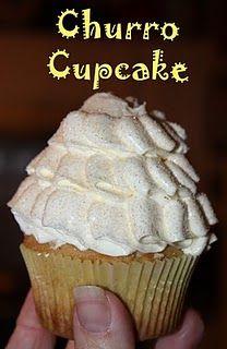 Christy: Cinco de Mayo: Churro Cupcakes (uses the same swiss buttercream icing as ruffle cake) Cupcake Recipes, Baking Recipes, Cupcake Cakes, Dessert Recipes, Cup Cakes, Cupcake Ideas, Baking Ideas, Dessert Ideas, Churro Cupcakes