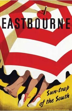 Eastbourne Sun Trap of the South, England Vintage Travel Poster - Poster Print, Sticker or Canvas Print / Gift Idea / Christmas Gift Vintage Travel Decor, Vintage Travel Posters, Vintage Art, Retro Poster, Poster Ads, Poster Prints, Art Print, Posters Uk, Railway Posters