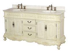 Antique White Double Sink Bathroom Vanity DLVBJ-002-AW