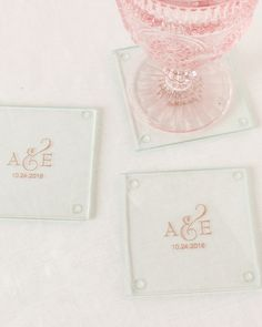 Make your wedding an affair to remember with these personalized glass coasters. These multifunctional coasters are a great way to display your new monogram or share something meaningful with guests.