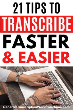 How to Transcribe Audio and Video Files Faster and Easier. 21 Tips to Become a Faster Transcriptionist and Typist and Speed up Typing and Transcribing. #transcription #transcriptionjobs #typingjobs  #workfromhome #remotejobs #onlinejobs #sidehustles #workathomejobs #workathome  #makemoneyonline #makemoneyfromhome How To Get Money, Make Money From Home, Make Money Online, How To Become, Work From Home Opportunities, Work From Home Tips, Typing Jobs From Home, Online Side Jobs, Transcription Jobs For Beginners