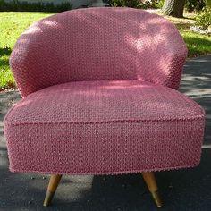 Vintage Mid Century Modern Pink Kroehler Swivel Chair