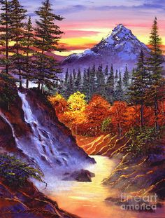 Deep Canyon Falls by David Lloyd Glover ~ acrylics on canvas ~ mountains river pines autumn