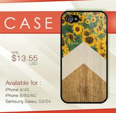 Sunflower on wood hard plastic available for iphone by deodoran, $13.99