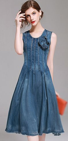 Chic O-Neck Sleeveless Denim A-Line Dress