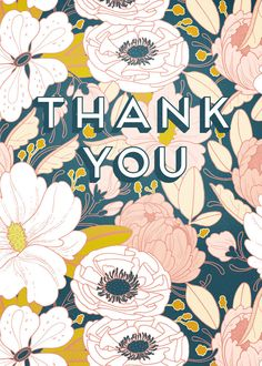 Floral Thank You Card | pretty patten from Paper Raven Co