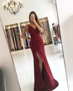 v neck prom dress,burgundy prom dress,mermaid evening dress,sexy bridesmaid dresses