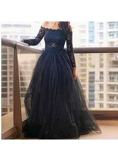 USD$163.77 - Modern Off-the-shoulder Black Prom Dress With Lace Long Sleeve - www.27dress.com