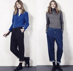 The Seafarer New York 2015-2016 Fall Autumn Winter Womens Lookbook Presentation - Denim Jeans Bell Bottom 1970s Seventies Flare Tuxedo Stripe Knit Sweater Sailor Pants Trousers Rock Hippie Bohemian Boho Chic Blouse Long Sleeve Jumper Pullover Stains Paint Loafers Slouchy Tapered Turtleneck