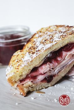 Sweet, meet savory. The perfect sandwhich to use when you have leftover ham and cranberry sauce. Breakast, lunch, or dinner!