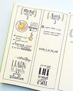 Bullet journal daily spread - ideas and inspiration bujo ins Bullet Journal Daily Spread, Bullet Journal 101, Bullet Journal Layout, Bullet Journals, Organisation D'agenda, Journal Inspiration, Journal Ideas, My Planner Colibri, To Do Planner