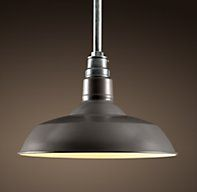 """Vintage Barn Pendant Slate Grey, comes in 18"""", 22"""", and 26"""" wide.  Variety of colors.  Restoration Hardware, between $200-$500"""