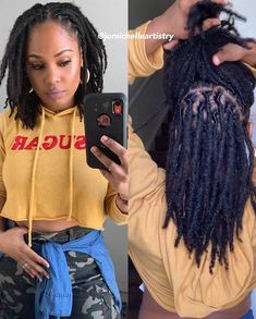 Ever 🙌🏾 Swipe left for video so y'all can see my triangle, rectangle and square parting lol. I started my locs myself and did… Faux Locs Hairstyles, Twist Hairstyles, Black Girls Hairstyles, Ponytail Hairstyles, Dance Hairstyles, Dreadlock Styles, Dreads Styles, Curly Hair Styles, Natural Hair Styles